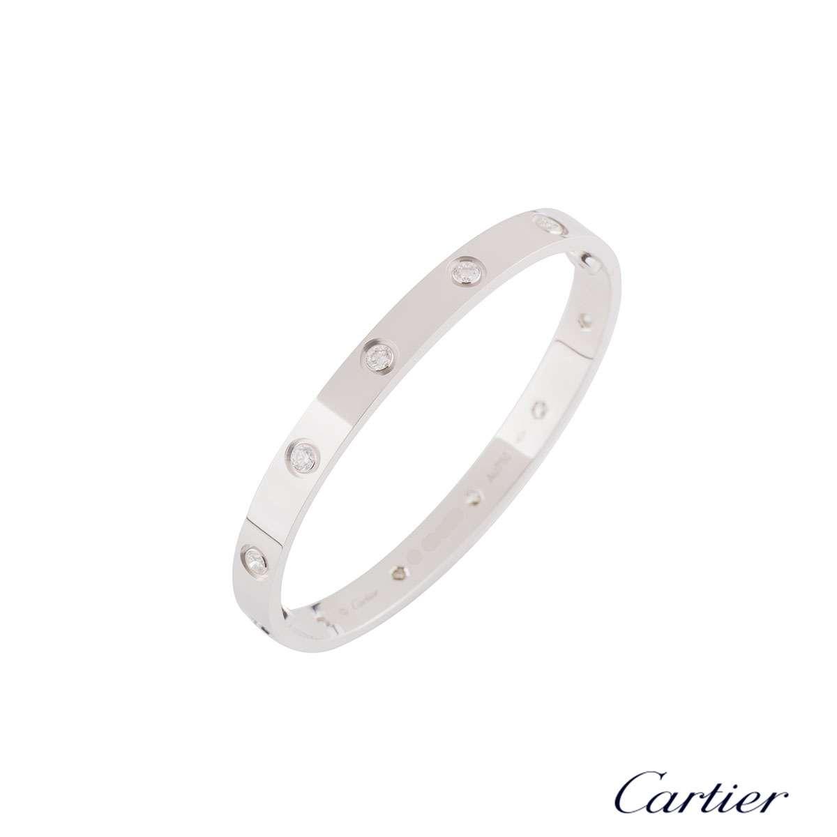 Cartier White Gold Full Diamond Love Bracelet Size 17B6040717
